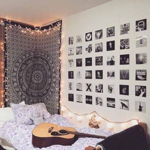 black and white photo prints, fairy lights, instagram
