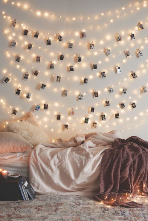 fairy lights, photo prints, vintage prints, polaroid, instax