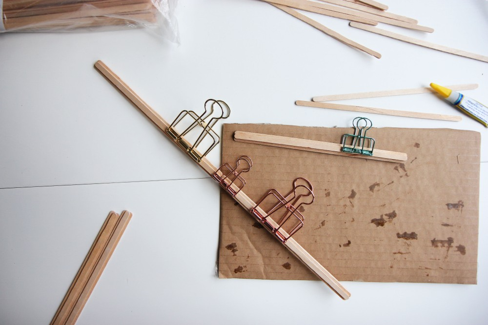 gluing lolly sticks together
