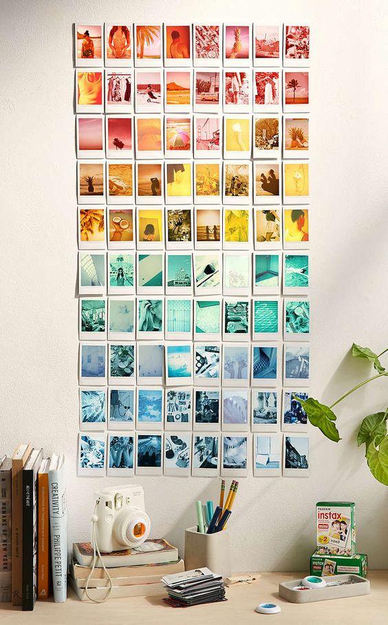 colour coordinated polaroid wall